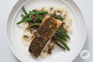 Crispy Salmon with Risotto and Grean Beans Courtesy of Wildtree Meals