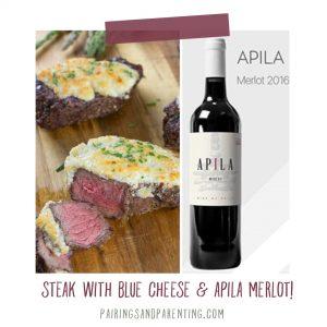 Steak with Blue Cheese Butter & Apila merlot