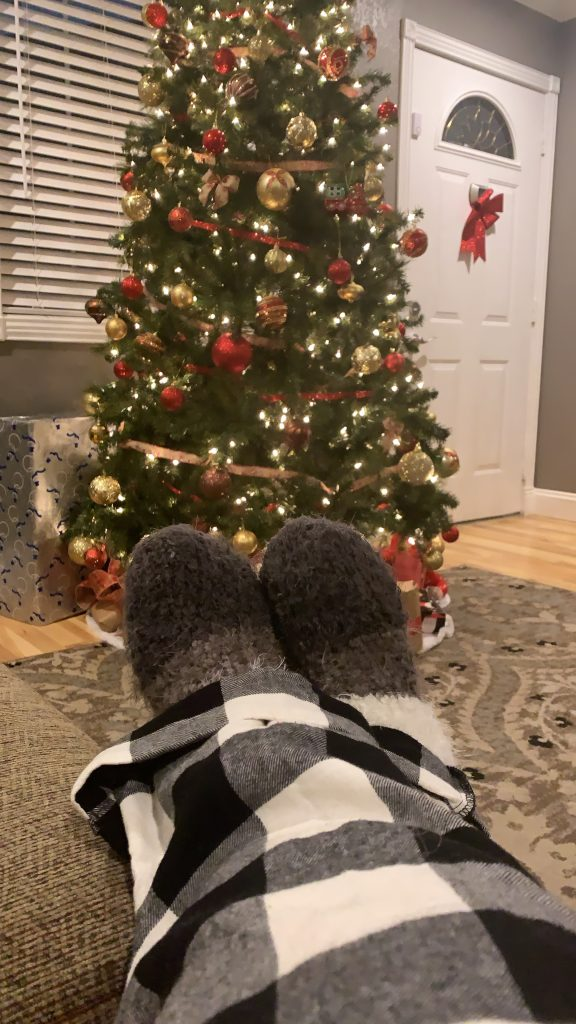 Fuzzy Socks with Christmas Tree